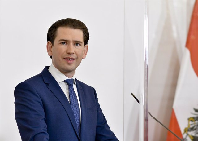 """28 May 2021, Austria, Vienna: Austrian Chancellor Sebastian Kurz speaks during a press conference after the Coronavirus Summit """"Current Situation - Further Opening Steps"""" at the Federal Chancellery. Photo: Herbert Neubauer/APA/dpa"""