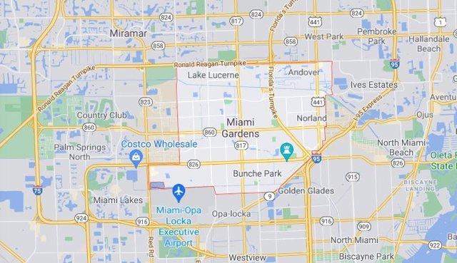 Imagen de mapa de la ciudad de Miami Gardens