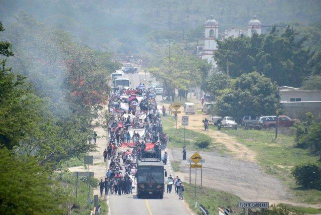 Manifestación de estudiantes normalistas en Chiapas