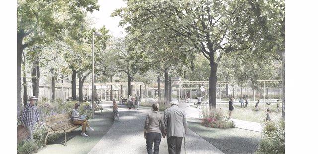 La Colònia Castells tindrà un parc d'uns 10.000 metres quadrats amb verd i espais de salut i esbarjo