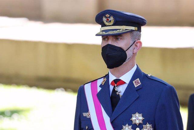 """El Rey Felipe durante el acto central del """"Día de las Fuerzas Armadas 2021"""", a 29 de mayo de 2021, en Madrid (España)."""