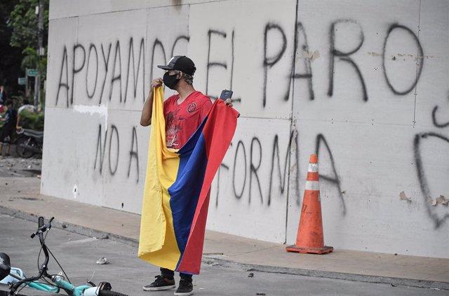 Manifestant en Cali, Colòmbia