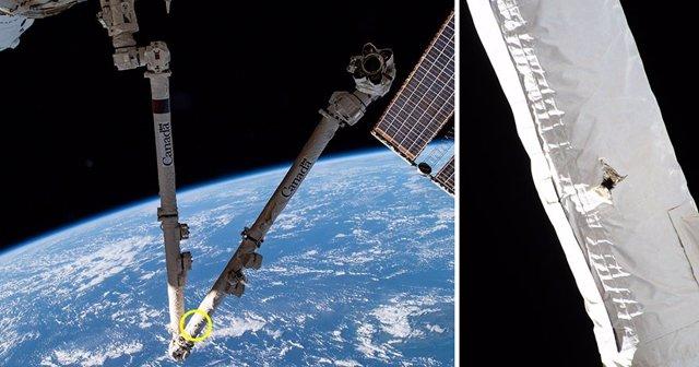 Daños de desechos espaciales en el brazo robótico de la Estación Espacial