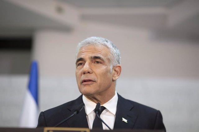 El líder del partido opositor Yesh Atid, Yair Lapid, durante una rueda de prensa en Israel