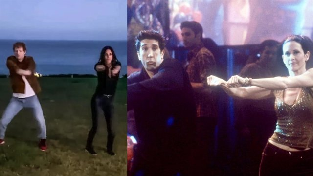 Friends: Courteney Cox recrea el icónico baile de Ross y Monica con Ed Sheeran (VÍDEO)