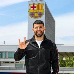 El jugador del FC Barcelona Sergio 'Kun' Agüero, que firma hasta 2023 y llega libre procedente del Manchester City