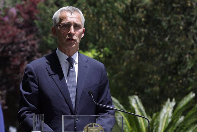 HANDOUT - 26 May 2021, Portugal, Lisbon: NATO Secretary General Jens Stoltenberg speaks during a joint press conference with Portuguese Prime Minister Antonio Costa (Not Pictured)following their meeting at the Sao Bento Palace in Lisbon. Photo: -/NATO/dp