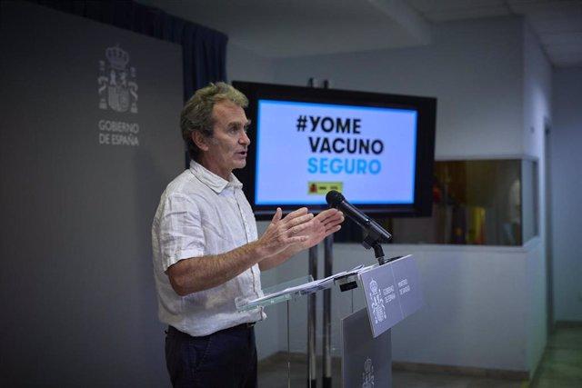 El director del Centro de Alertas y Emergencias Sanitarias (CAES), Fernando Simón, comparece para informar sobre el avance de la pandemia por COVID-19, a 24 de mayo de 2021, en Madrid (España). Durante la rueda de prensa, Simón ha informado de que la inci