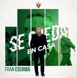 El entrenador Fran Escribá ha renovado con el Elche para la temporada 2021-22.