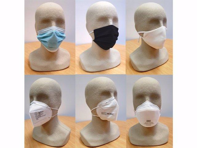 Mascarillas quirúrgicas, de tela, FFP2, KN95 y FFP3. /