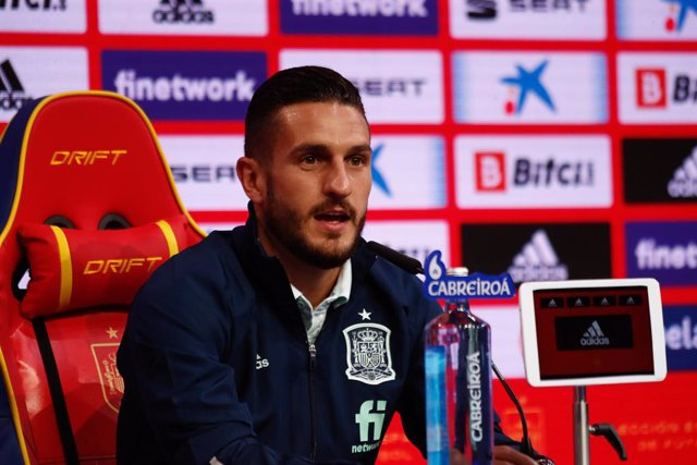 """Jorge Resurreccion """"Koke"""" attends during the press conference of Spain Team ahead of a friendly football match against Portugal on june 4, as part of the team's preparation for the upcoming 2020 UEFA Euro Cup football tournament, on June 01, 2021 in Las R"""