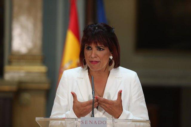 La líder de Anticapitalistas en Andalucía y diputada autonómica, Teresa Rodríguez interviene tras presentar una propuesta desde Andalucía en el Senado, a 24 de mayo de 2021, en Madrid (España). Hace dos meses, Rodríguez anunció que los diputados no adscri
