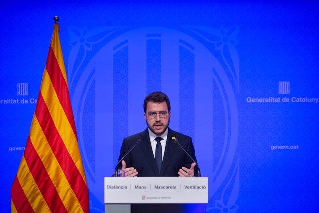 El president de la Generalitat, Pere Aragonès, en la conferència de premsa posterior al Consell Executiu.