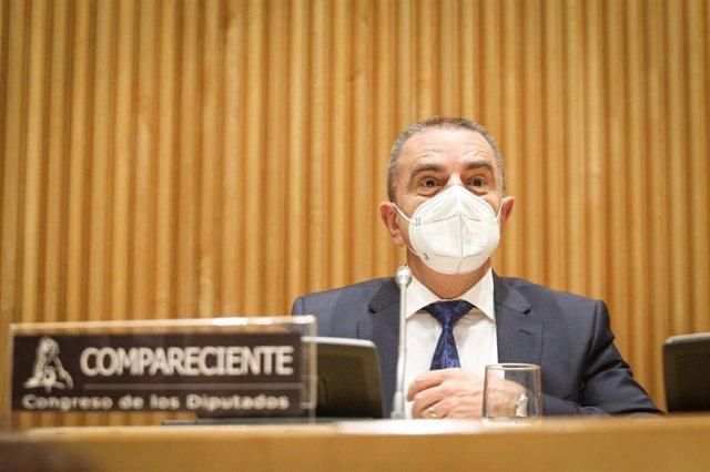 El presidente del Consejo Superior de Deportes (CSD), José Manuel Franco, en el Congreso de los Diputados.