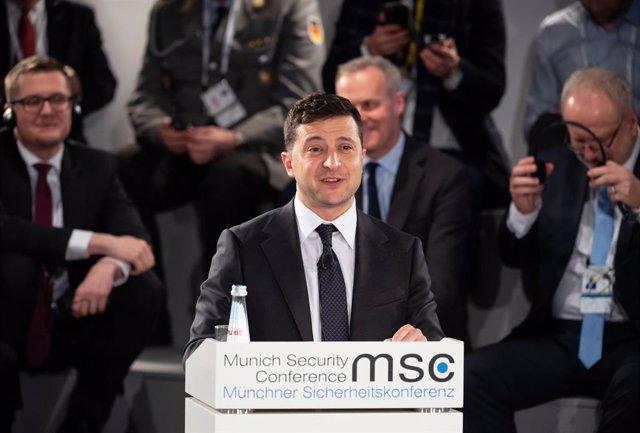 Archivo - Volodimir Zelenski en la Conferencia de Seguridad de Múnich