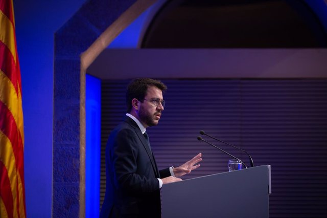 El president de la Generalitat, Pere Aragonès, en la roda de premsa posterior al Consell Executiu.