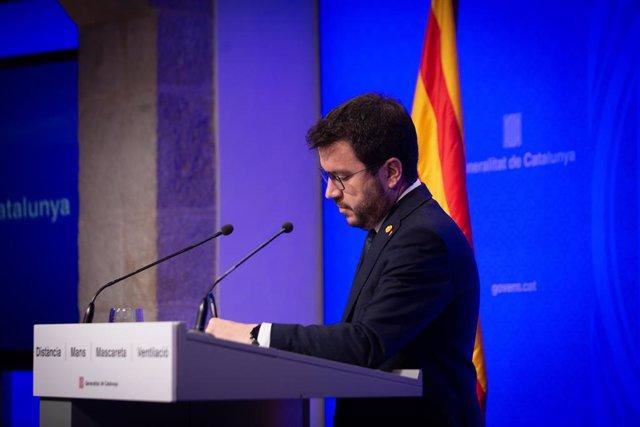 El president de la Generalitat, Pere Aragonès, intervé en una roda de premsa posterior al Consell Executiu.