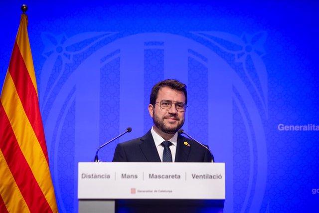 El president de la Generalitat, Pere Aragonès, intervé en una conferència de premsa posterior al Consell Executiu.