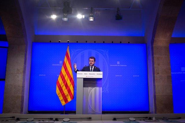 El president de la Generalitat, Pere Aragonès, intervé en la conferència de premsa posterior al Consell Executiu.