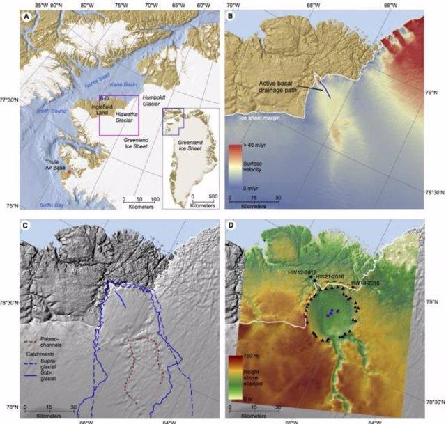 Ubicación del gran cráter de impacto en Gorenlandia
