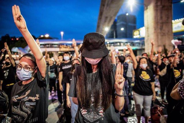 Archivo - Imagen de archivo de las protestas en Tailandia.