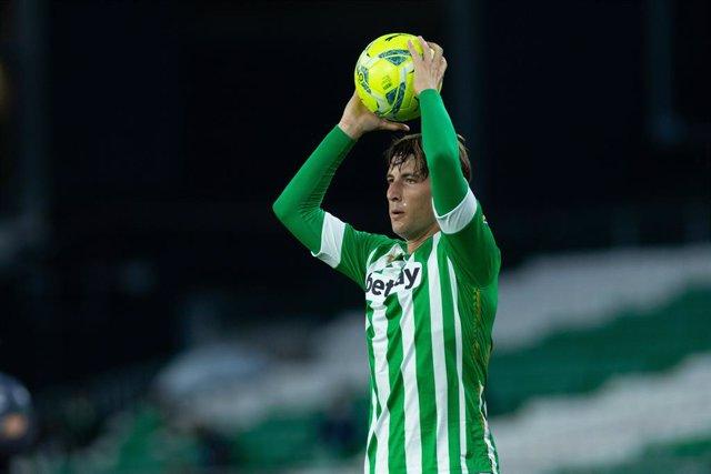 Juan Miranda of Real Betis during LaLiga, football match played between Real Betis Balompie and Granada Club de Futbol at Benito Villamarin Stadium on May 10, 2021 in Sevilla, Spain.