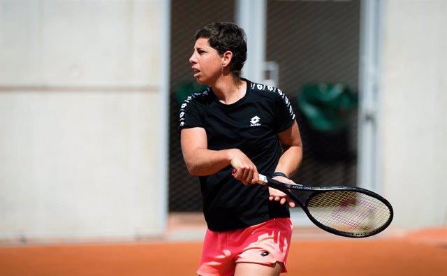 Carla Suarez Navarro of Spain during practice ahead of the 2021 Roland Garros Grand Slam Tournament