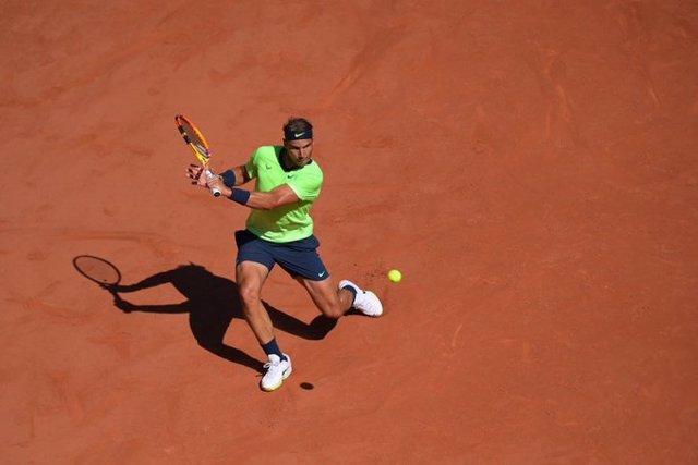 El tenista español Rafa Nadal durante su debut en Roland Garros 2021