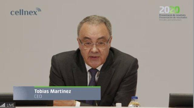 Archivo - Tobías Martínez, consejero delegado de Cellnex Telecom en la presentación de resultados de 2020 telemática el 26 de febrero de 2021