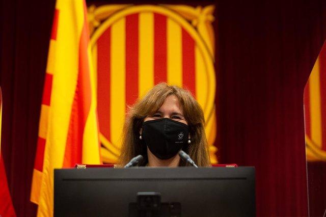 La presidenta del Parlament, Laura Borràs, en el ple de la cambra catalana del 2 de juny del 2021.