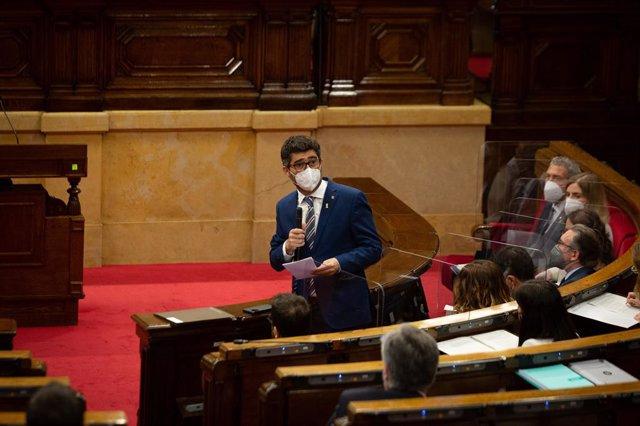 El vicepresident i conseller de Polítiques Digitals i Territori de la Generalitat, Jordi Puigneró, en la primera sessió de control al Govern.