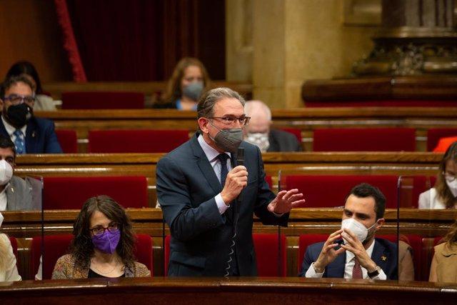 El conseller d'Economia de la Generalitat, Jaume Giró, en la primera sessió de control al Govern.