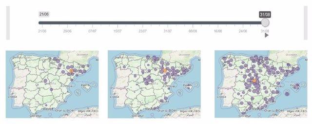 ?Tres Imágenes Obtenidas Con La Herramienta Interactiva Desarrollada Por El CNE-ISCIII Muestran La Evolución De Brotes De COVID-19 En España En El Verano De 2020.