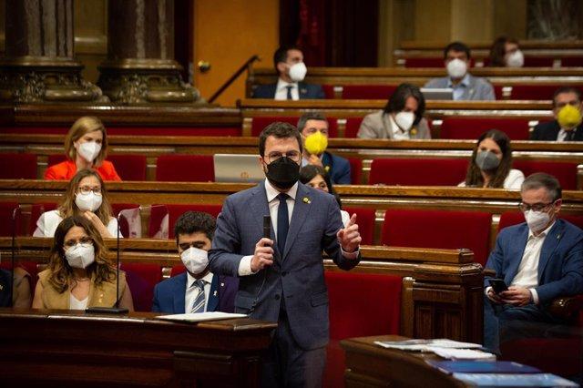 El president de la Generalitat, Pere Aragonès, en la sessió de control al Govern.