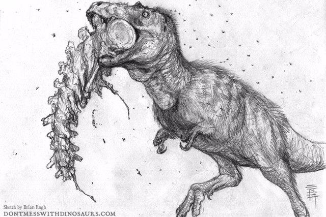 Representación de un artista de un joven Tyrannosaurus rex, de unos 13 años, masticando la cola de un Edmontosaurus, un dinosaurio pico de pato herbívoro del Cretácico tardío.
