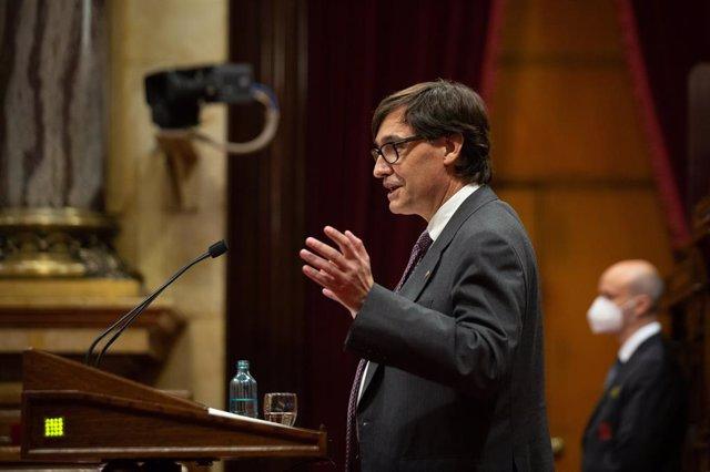 El líder del PSC al Parlament, Salvador Illa, en el ple de la cambra catalana del 2 de juny del 2021.