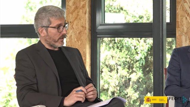 El profesor de Sociología de la UAM, Josep Lobera, en la presentación este miércoles de la X Encuesta de Percepción Social de la Ciencia, elaborada por la FECYT, de la que es codirector científico