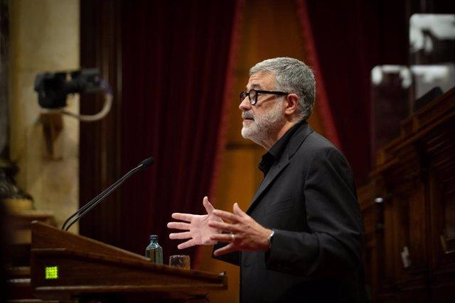 El diputat de la CUP al Parlament, Carles Riera, en el ple de la cambra catalana del 2 de juny del 2021.
