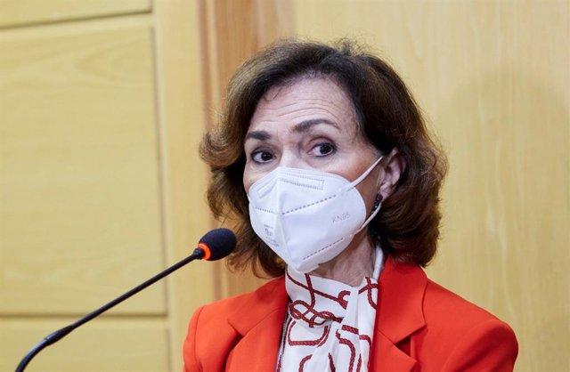 La vicepresidenta del Gobierno de España, Carmen Calvo.