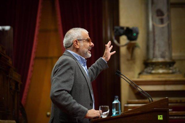 El líder de Cs a Catalunya, Carlos Carrizosa, en el ple del Parlament.