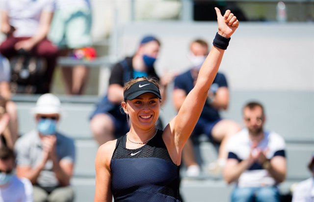 Paula Badosa of Spain in action during the first round of the 2021 Roland Garros Grand Slam Tournament against Lauren Davis of the United States