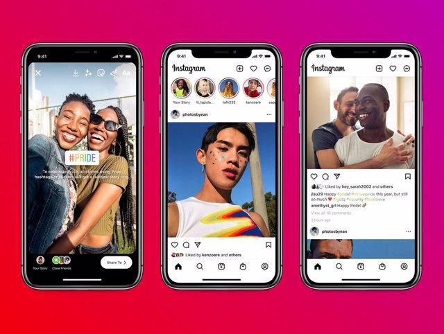 Funciones de Instagram para el mes del Orgullo LGTBQ+.