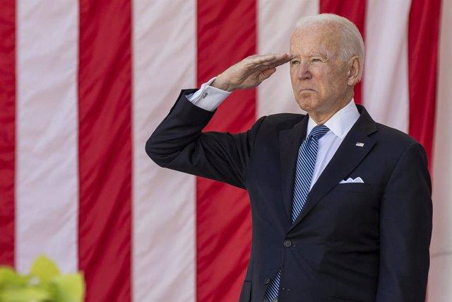 31 May 2021, US, Arlington County: US President Joe Biden salutes during the annual Memorial Day commemoration in the Memorial Amphitheater at Arlington National Cemetery. Photo: Sgt. Gabriel Silva/US Army via Planet Pix via ZUMA Wire/dpa