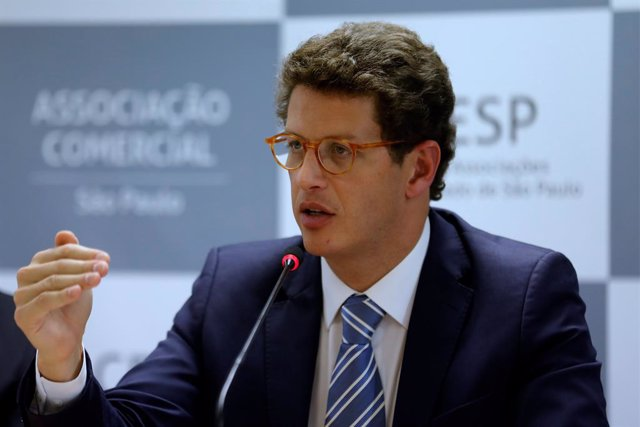 Archivo - 26 August 2019, Brazil, São Paulo: Brazilian environment minister Ricardo Salles attends a meeting with the Commercial Association of the Sao Paulo. Photo: Marcelo Chello/ZUMA Wire/dpa