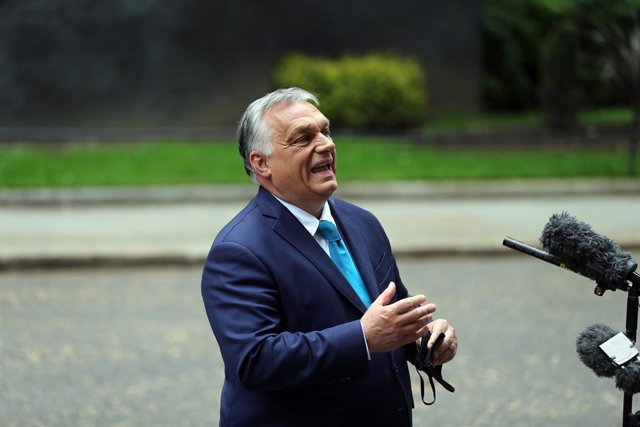 28 May 2021, United Kingdom, London: Hungarian Prime Minister Viktor Orban speaks to media in Downing Street after meeting with UK Prime Minister Boris Johnson. Photo: Tayfun Salci/ZUMA Wire/dpa