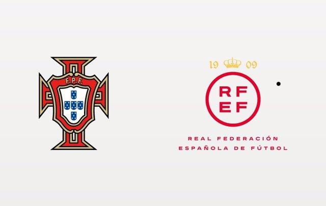 Logos de la Federación Portuguesa de Fútbol y de la RFEF