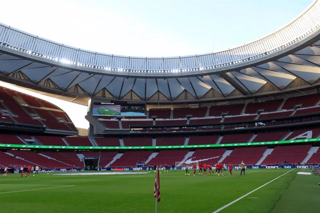 Archivo - Illustration, view of the empty stands during the spanish league, La Liga Santander, football match played between Atletico de Madrid and Athletic Club at Wanda Metropolitano stadium on March 10, 2021, in Madrid, Spain.