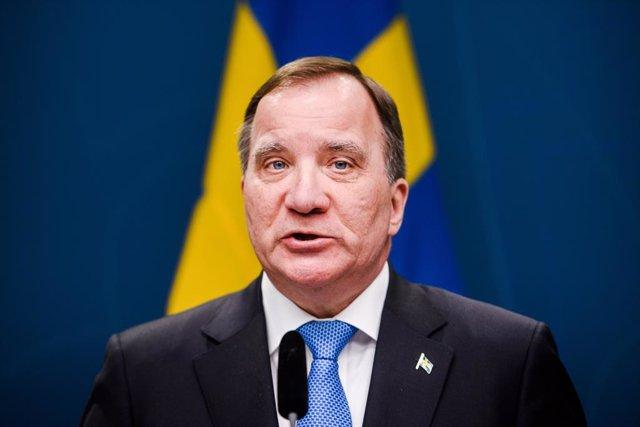 Archivo - 31 March 2020, Sweden, Stockholm: Stefan Lofven, Prime Minister of Sweden, speaks during a press conference regarding the coronavirus crisi. Photo: Maxim Thore/Bildbyran via ZUMA Press/dpa