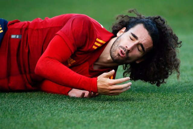 Archivo - Marc Cucurella of Spain Sub21 hurts during the UEFA Under 21 Championship football match played between Spain and Kazakhstan at Santo Domingo stadium on october 13, 2020 in Alcorcon, Madrid, Spain.