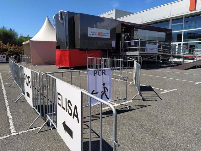 Archivo - Espacio de Forem en Mutilva, donde el Gobierno de Navarra realiza pruebas de PCR y Elisa, y adminsitra vacunas frente al Covid-19.